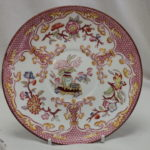 Sarreguemines hand coloured cup and saucer-pattern 235